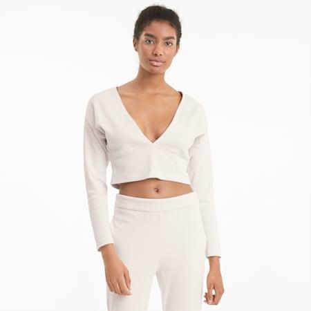 Camiseta de entrenamiento de punto acanalado, manga larga y cuello en V para mujer Exhale, Pastel Parchment, small