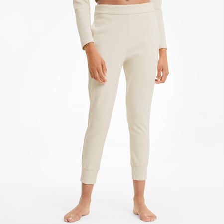 Exhale Ribbed Knit Women's Training Joggers, Pastel Parchment, small-IND