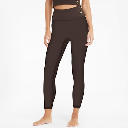 Exhale Solid High Waist 7/8 Women's Training Leggings, After Dark, small-IND