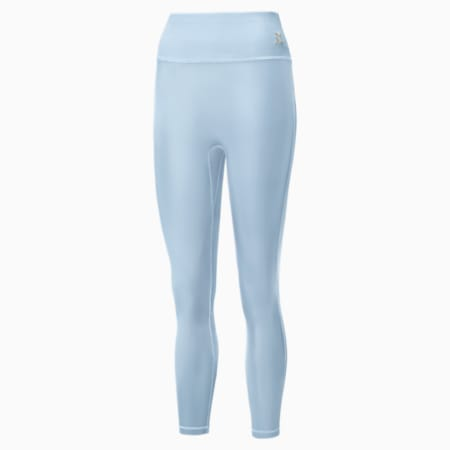 Exhale Solid High Waist 7/8 Women's Training Leggings, Quietude, small-SEA