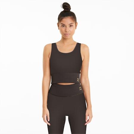 Exhale Solid Kurzes Damen Trainingsshirt, After Dark, small