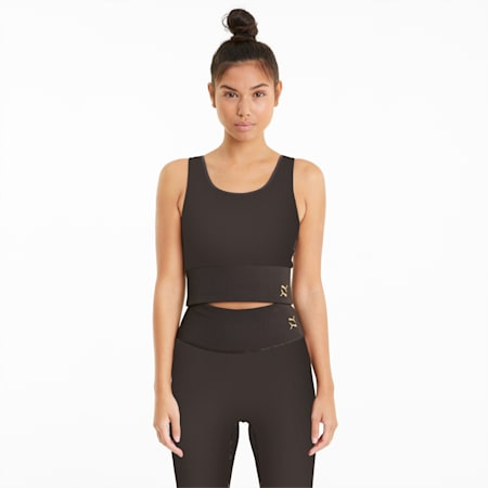 Exhale Solid Women's Training Crop Top, After Dark, small-GBR