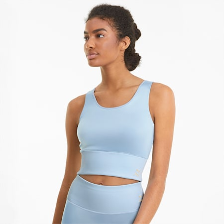 Exhale Solid Women's Training  Crop Top, Quietude, small-IND
