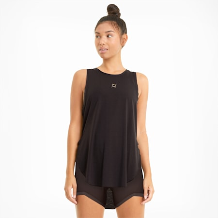 Exhale Mesh Trim Women's Training Tank Top, After Dark, small