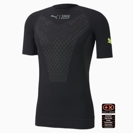 PUMA by X-BIONIC Twyce Short Sleeve Men's Running Tee, Puma Black-Charcoal Gray-Yellow Alert, small