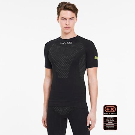 PUMA by X-BIONIC Twyce hardloopshirt met korte mouwen voor heren, Puma Black-Charcoal Gray-Yellow Alert, small