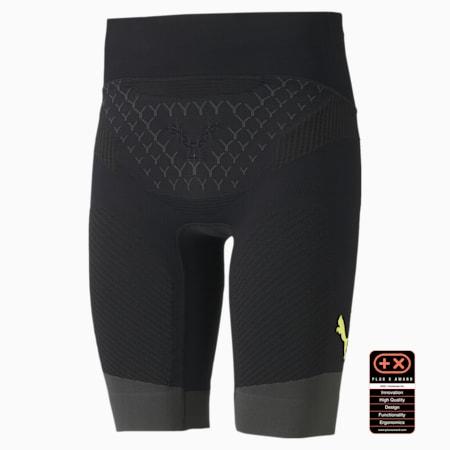 PUMA by X-BIONIC Twyce Short Men's Running Tights, Puma Black-Charcoal Gray-Yellow Alert, small