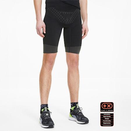 Pantaloni aderenti da running PUMA by X-BIONIC Twyce Short uomo, Puma Black-Charcoal Gray-Yellow Alert, small