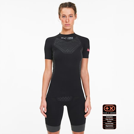 PUMA by X-BIONIC Twyce Damen Running T-Shirt, Puma Black-Pink Alert, small
