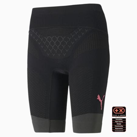PUMA by X-BIONIC Twyce Short Women's Running Tights, Puma Black-Charcoal Gray-Pink Alert, small-SEA