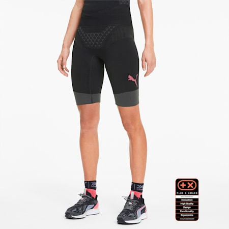 Shorts de mujer para correr PUMA by X-BIONIC® Twyce, Puma Black-Pink Alert, pequeño