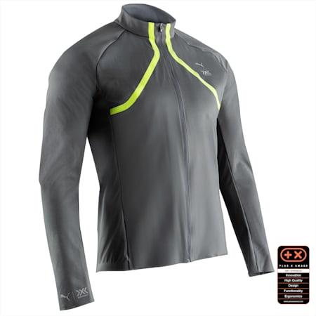 PUMA by X-BIONIC RainSphere Men's Running Jacket, Charcoal Gray-Yellow Alert, small-SEA
