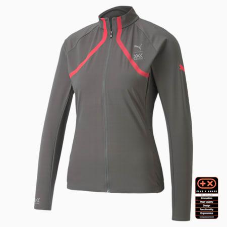 PUMA by X-BIONIC RainSphere Women's Running Jacket, Charcoal Gray-Pink Alert, small-SEA