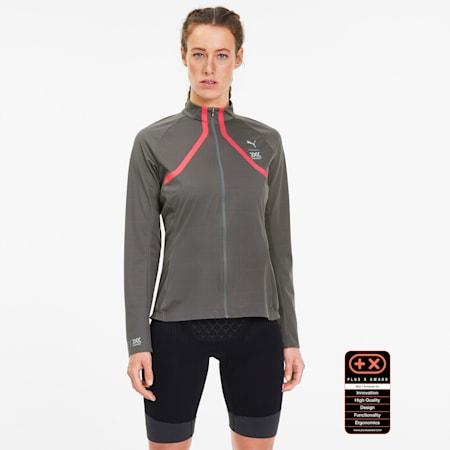 PUMA by X-BIONIC RainSphere Women's Running Jacket, Charcoal Gray-Pink Alert, small