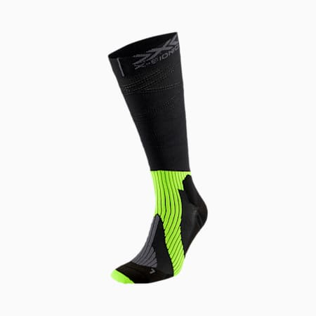 PUMA by X-BIONIC Run Triple Helix Long Running Socks, Puma Black-Yellow Alert-Gray, small
