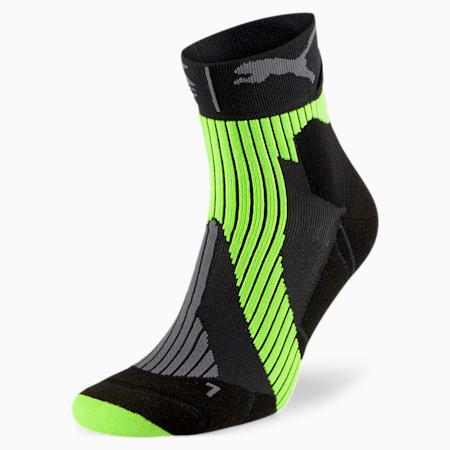 PUMA by X-BIONIC Performance Running Socks, Puma Black-Yellow Alert-Gray, small