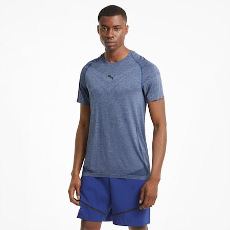 T-shirt da allenamento a maniche corte evoKNIT Tech uomo, Elektro Blue, small