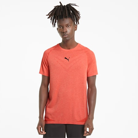 evoKNIT Tech Short Sleeve Men's Training Slim T-shirt, Poppy Red, small-IND