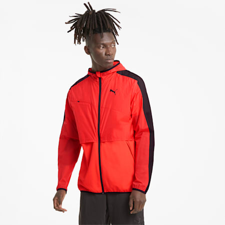 Ultra Men's Woven Training Jacket, Poppy Red-Puma Black, small