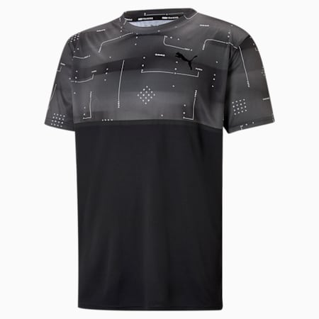 Printed Short Sleeve Men's Training  Relaxed T-Shirt, Puma Black-AOP Q2, small-IND