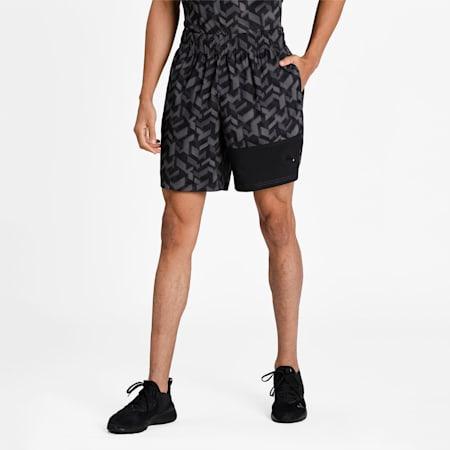 "Printed Woven 7"" Men's Training Shorts, Puma Black-AOP Q1, small-IND"