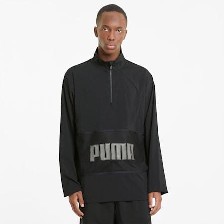 Giacca da allenamento a mezza zip con grafica uomo, Puma Black, small