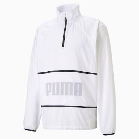 Blouson d'entraînement à demi-glissière et graphique, homme, Blanc Puma, petit