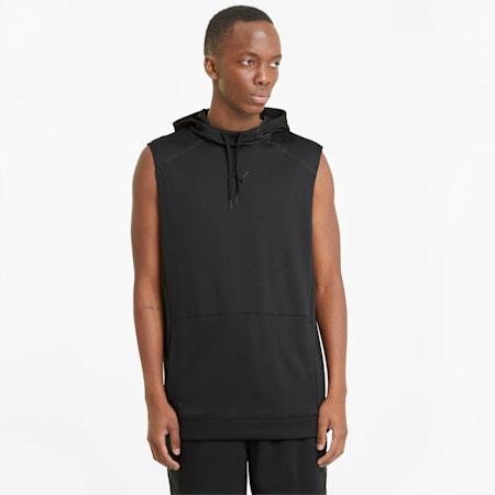 Męska dzianinowa bluza treningowa z kapturem Tech, Puma Black, small