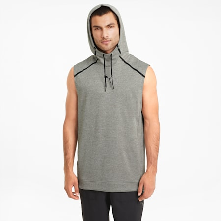 Tech Knit Men's Sleeveless Training Hoodie, Medium Gray Heather, small