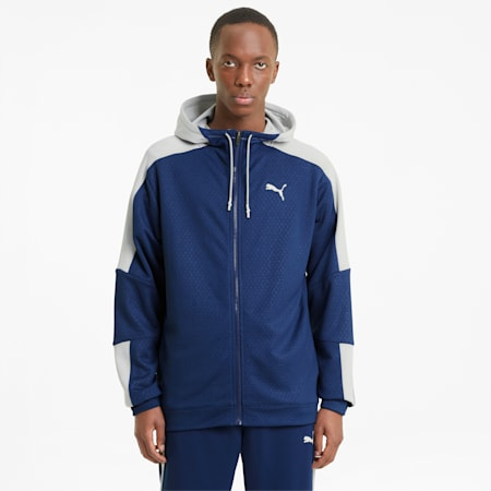 Activate Full-Zip Men's Training Jacket, Elektro Blue-Gray Violet, small