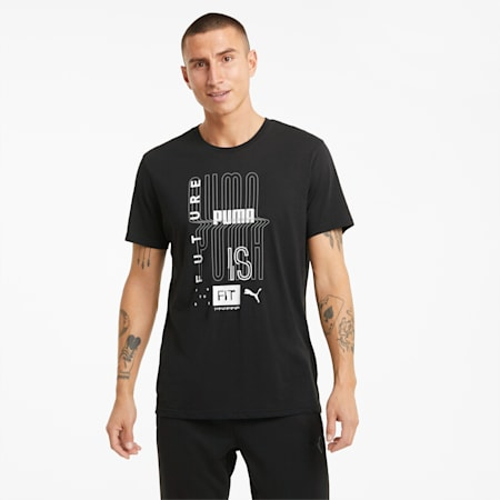 Camiseta de entrenamiento Performance Graphic para hombre, Puma Black, small