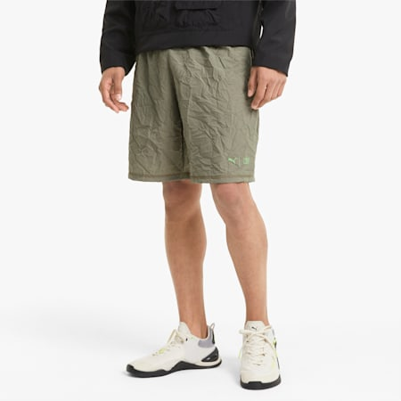 """PUMA x FIRST MILE Session 9"""" Men's Training Shorts, Vetiver AOP, small"""