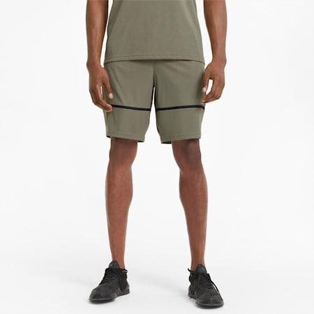 Shorts de entrenamiento de punto estampado para hombre, Vetiver, pequeño