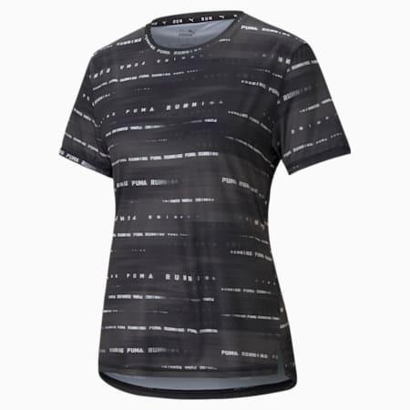 Graphic Short Sleeve Women's Running  T-shirt, Puma Black-Eggnog, small-IND