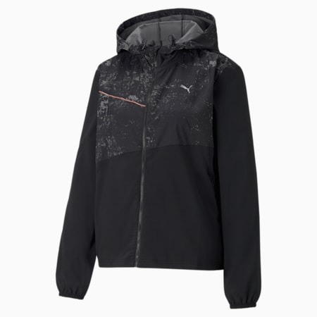 Graphic Hooded Women's Running Relaxed Jacket, Puma Black, small-IND