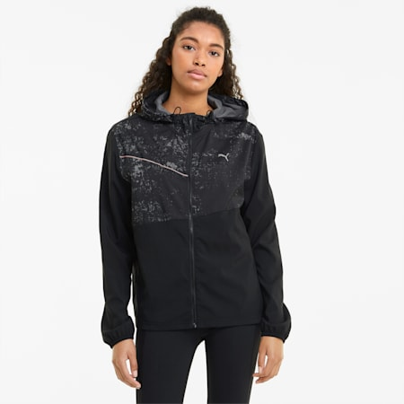 Graphic Hooded Women's Running Jacket, Puma Black, small-GBR