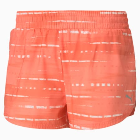 """Graphic Woven 3"""" Women's Running Shorts, Georgia Peach, small-IND"""