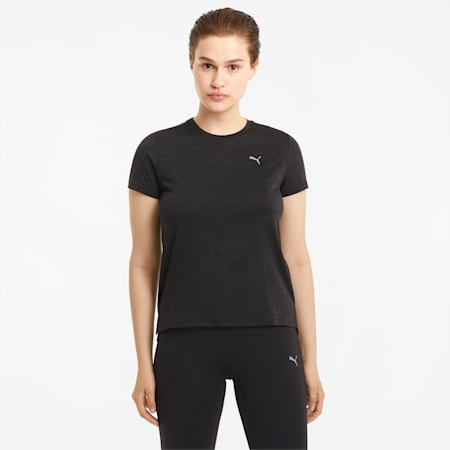 Favourite Heather Damen Lauf-T-Shirt, Puma Black Heather, small