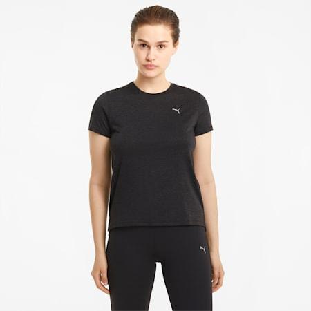 T-shirt de course à manches courtes chiné Favourite femme, Puma Black Heather, small