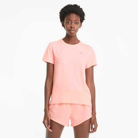 Favourite Heather Short Sleeve Women's Running Tee, Elektro Peach Heather, small