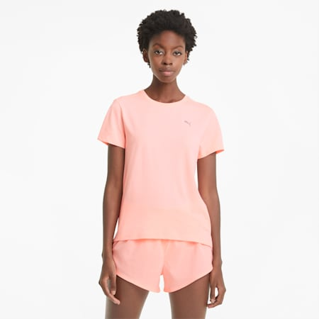 T-shirt da running a maniche corte Favourite Heather donna, Elektro Peach Heather, small