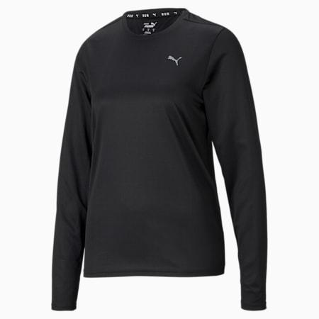 Camiseta para correr de manga larga Favorite para mujer, Puma Black, pequeño