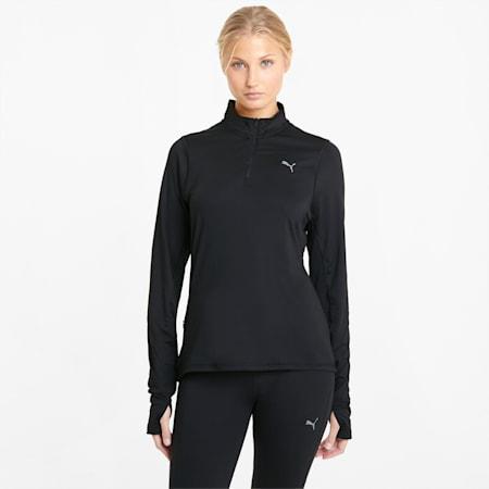 Pullover da running a maniche lunghe con mezza zip Favourite donna, Puma Black, small