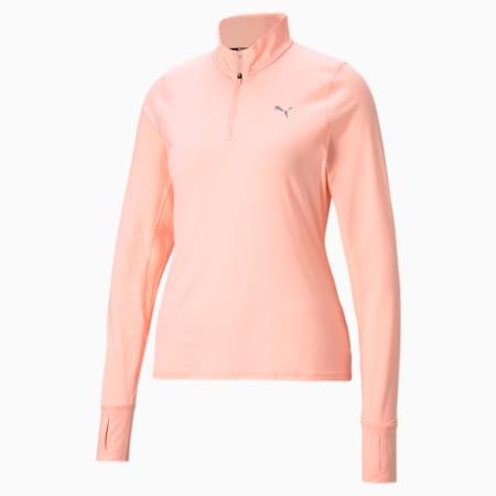Favourite Quarter-Zip Women's Running Pullover, Elektro Peach, small-IND