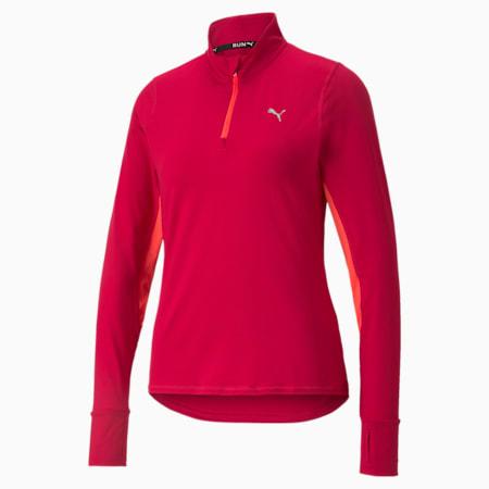 Pullover da running a maniche lunghe con mezza zip Favourite donna, Persian Red-Sunblaze, small