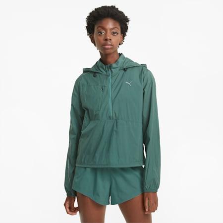 Woven Women's Running Jacket, Blue Spruce, small
