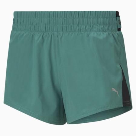 "COOLadapt Woven 3"" Women's Running Shorts, Blue Spruce, small-SEA"