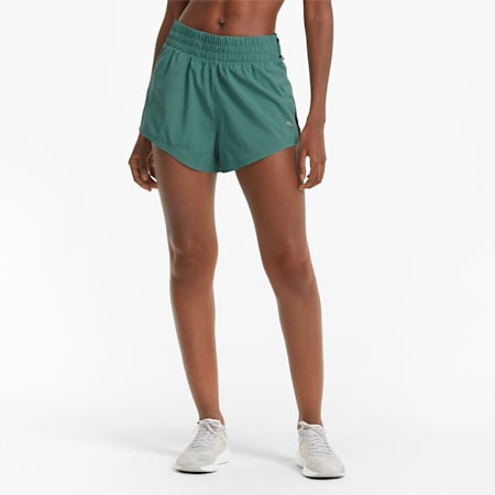"""Shorts da running COOLadapt Woven 3"""" donna, Blue Spruce, small"""