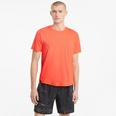 COOLadapt Short Sleeve Men's Running Tee, Lava Blast, small
