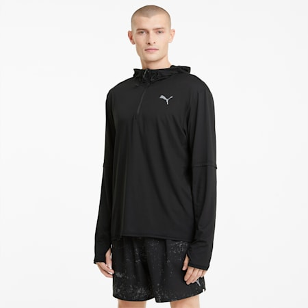 Camiseta de manga larga con capucha Running para hombre, Puma Black, small
